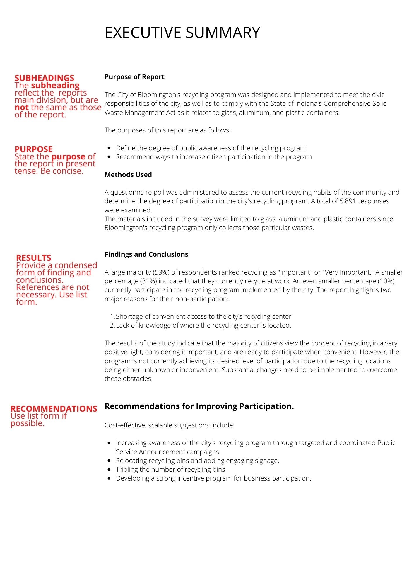 An example of an executive summary of a report on participation in the newly-implemented recycling program by the city of Bloomington, IN