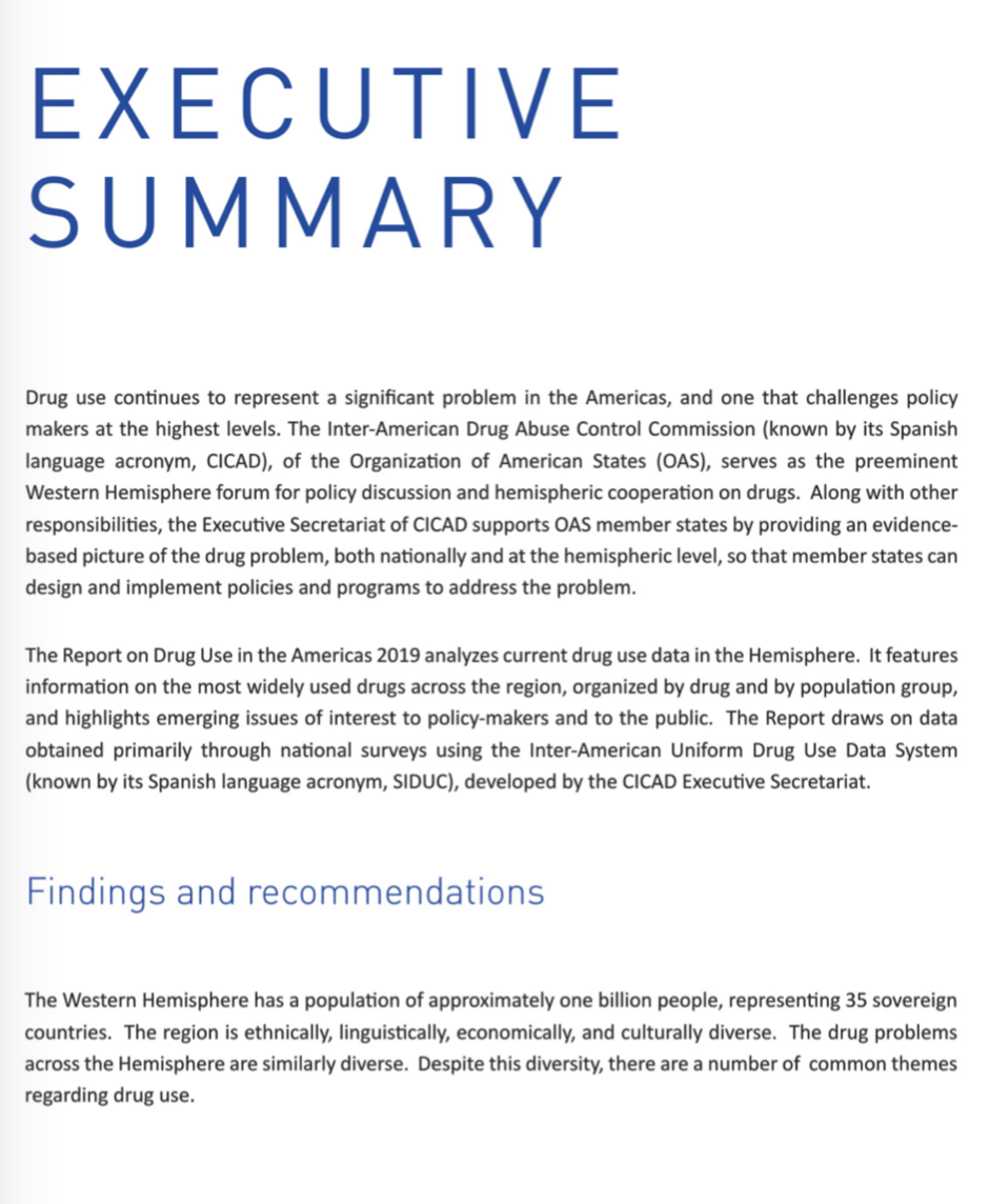 an executive summary of a 2019 Report on Drug Use in the Americas from the Organisation of American States' Inter-American Drug Abuse Control Commission