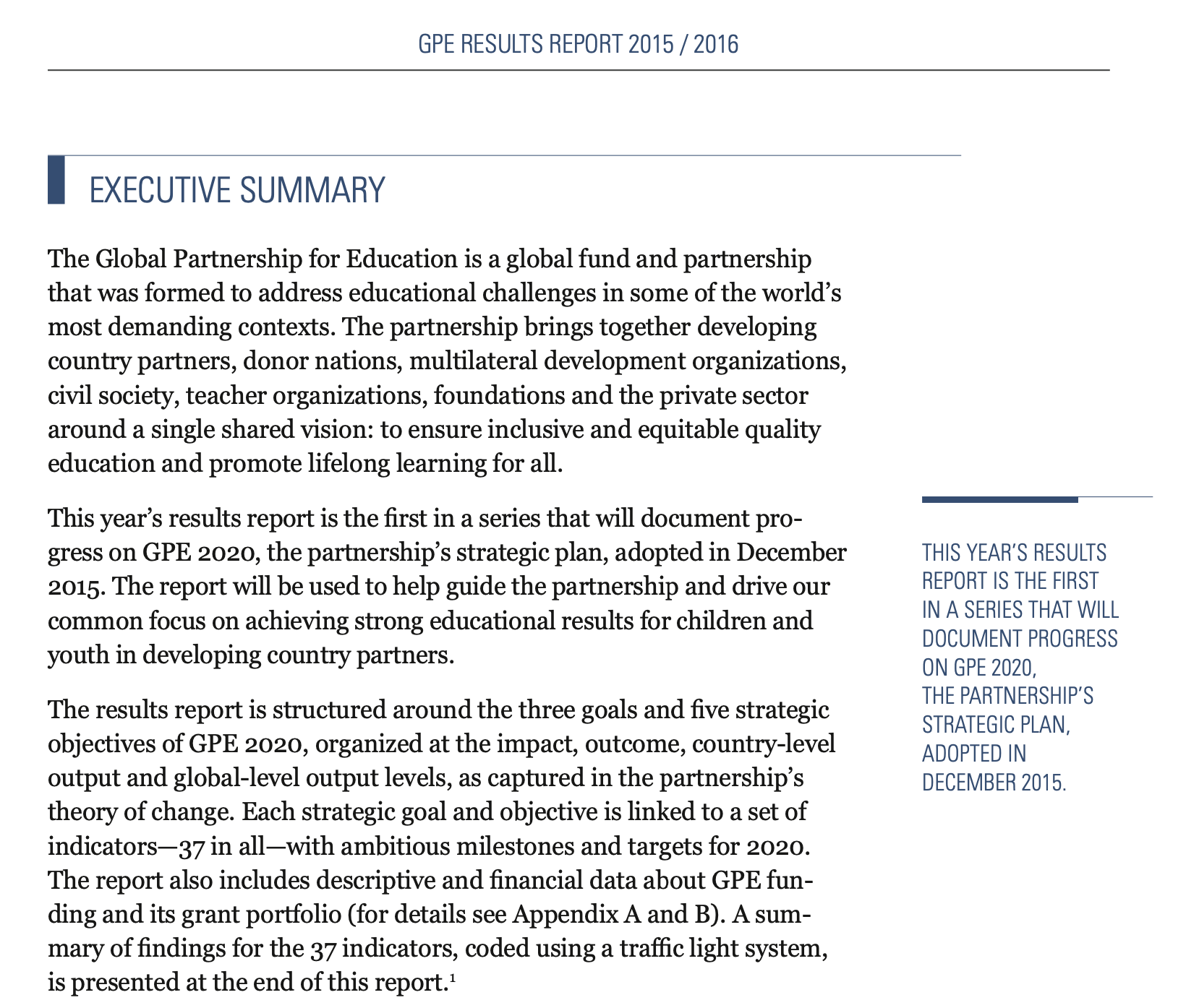 An Executive Summary of the Global Partnership for Education's Results Report 2015-2016