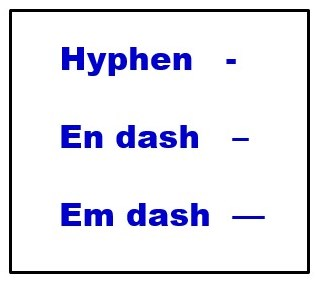 Dash and hyphen