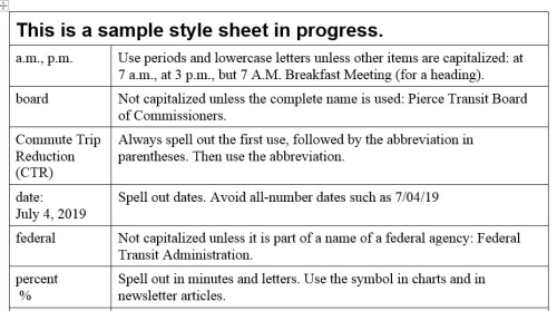 Style sheet example