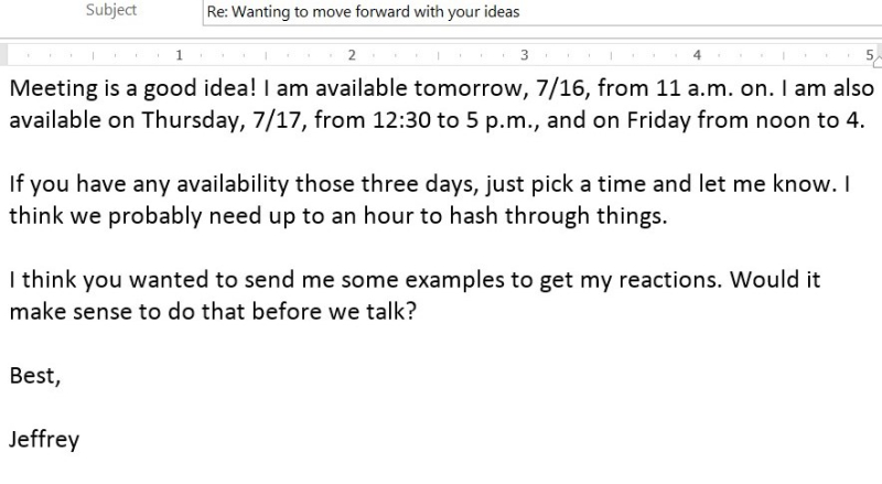 Email to schedule a meeting