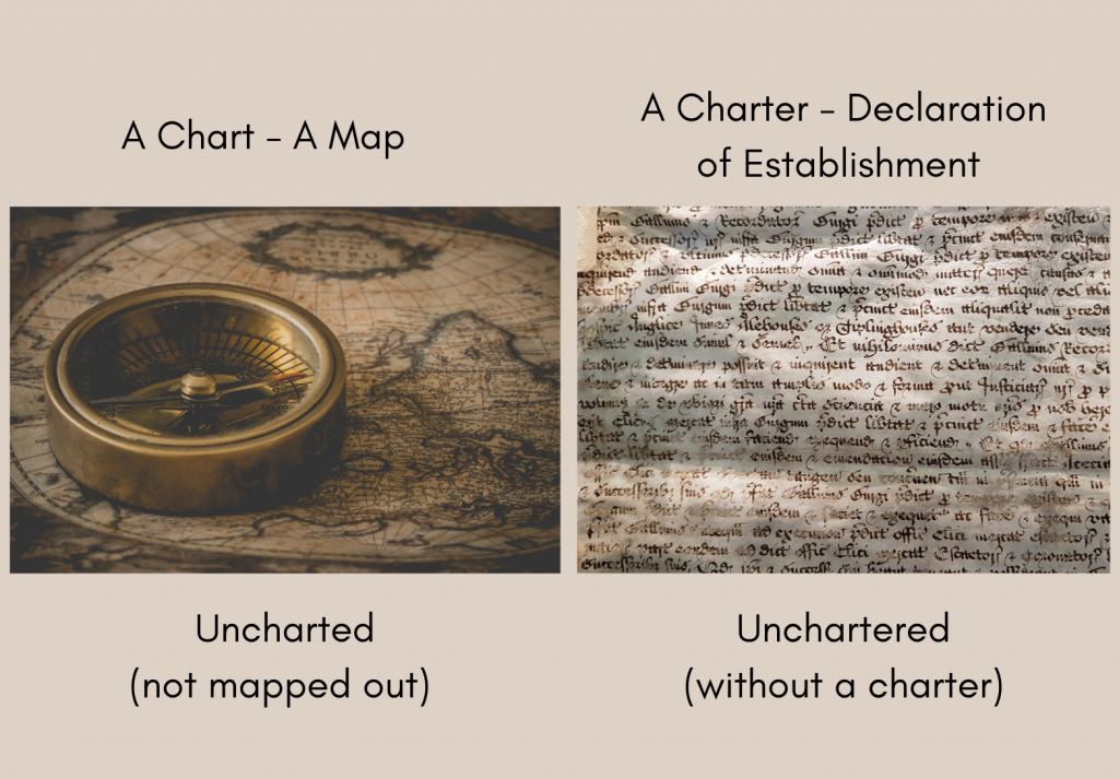 graphic showing uncharted vs. unchartered using an old map and an old charter