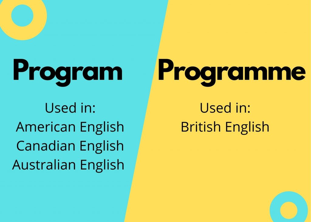 Graphic showing difference in usage of Program and Programme