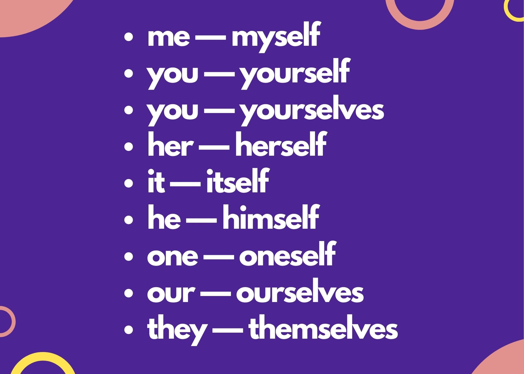 list of personal pronouns with their reflective pronouns: me — myself you — yourself you — yourselves her — herself it — itself he — himself one — oneself our — ourselves they — themselves