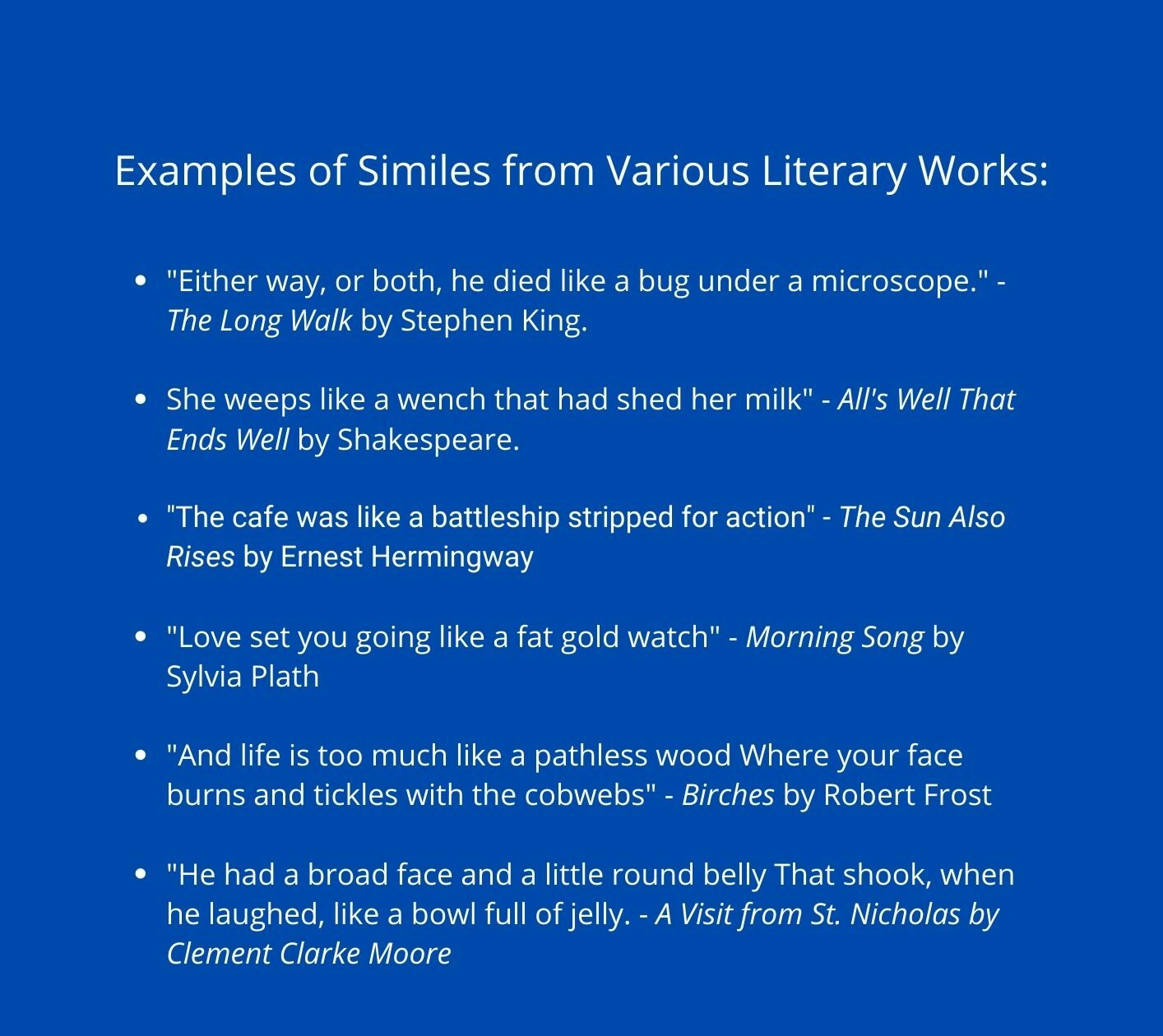 Learning what is a simile: examples of similes from literature