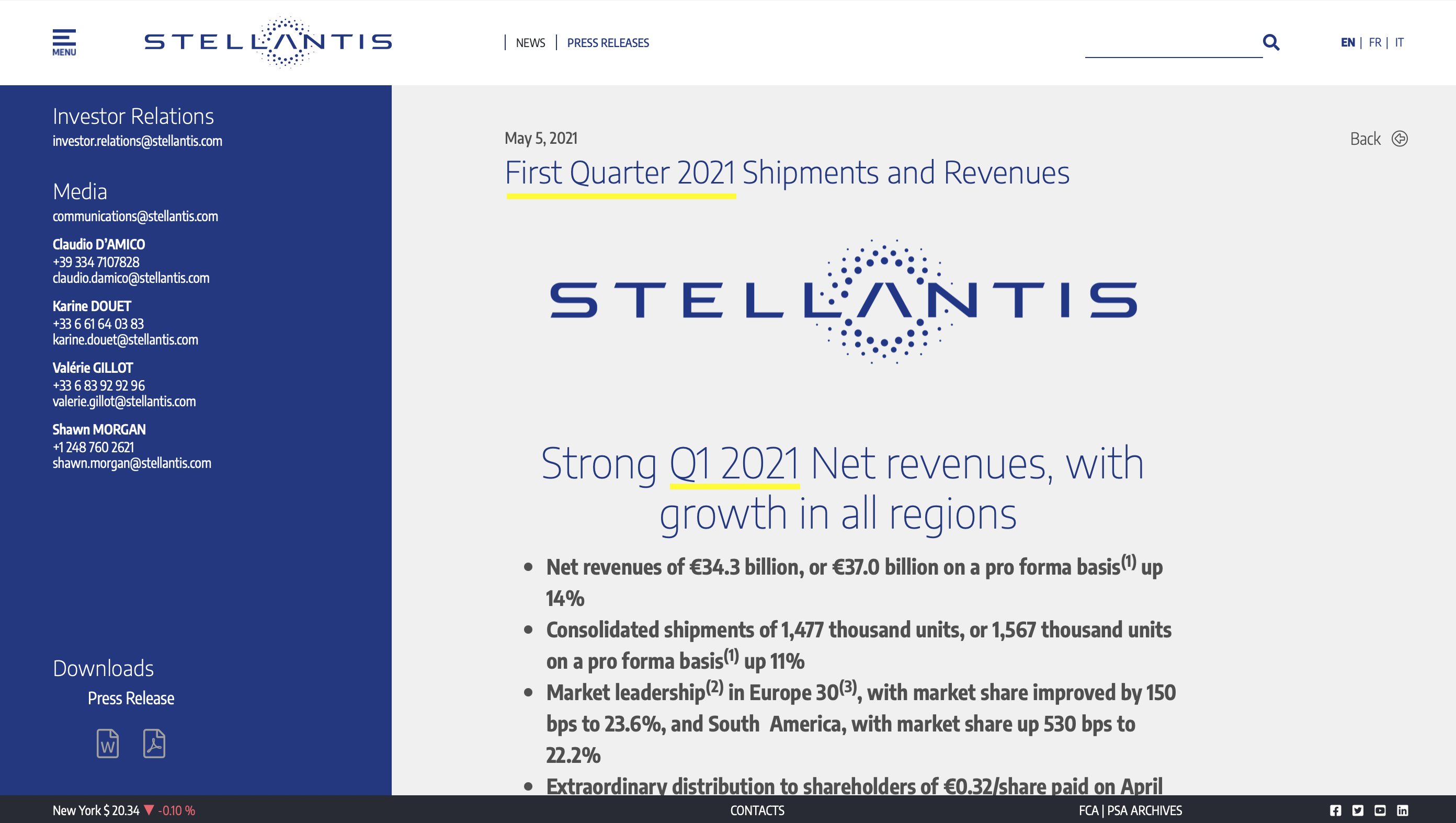 example of proper quarter abbreviation from a press release from the company STELLANTIS: First Quarter 2021 and Q1 2021