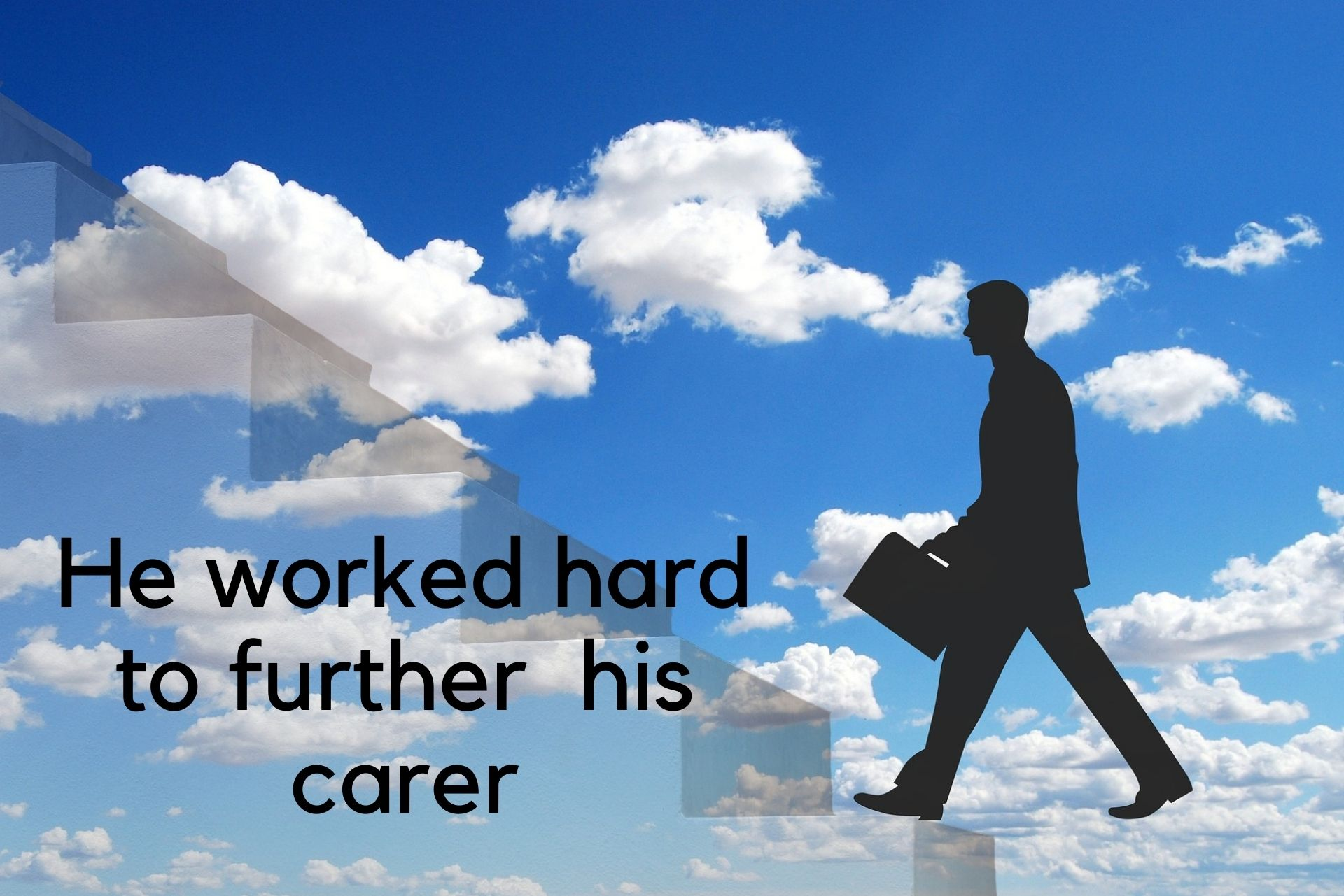 """Explaining farther vs. further: graphic showing a man climbing up a figurative stairs with caption """"he worked hard to further his career"""""""